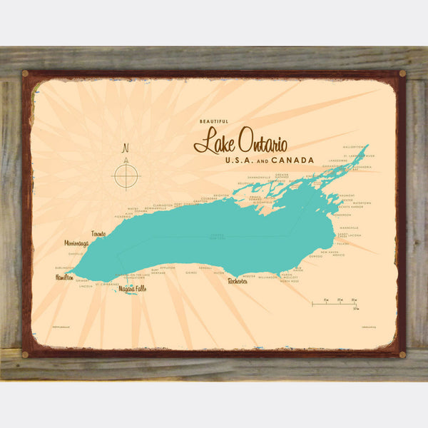 Lake Ontario New York, Wood-Mounted Rustic Metal Sign Map Art