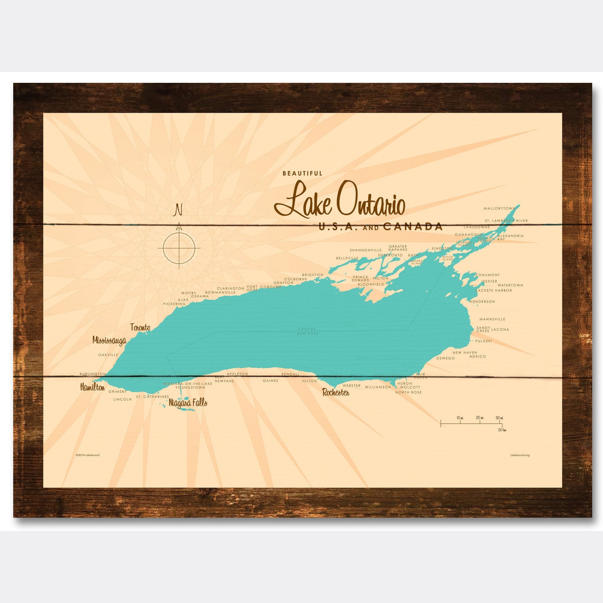 Lake Ontario New York, Rustic Wood Sign Map Art