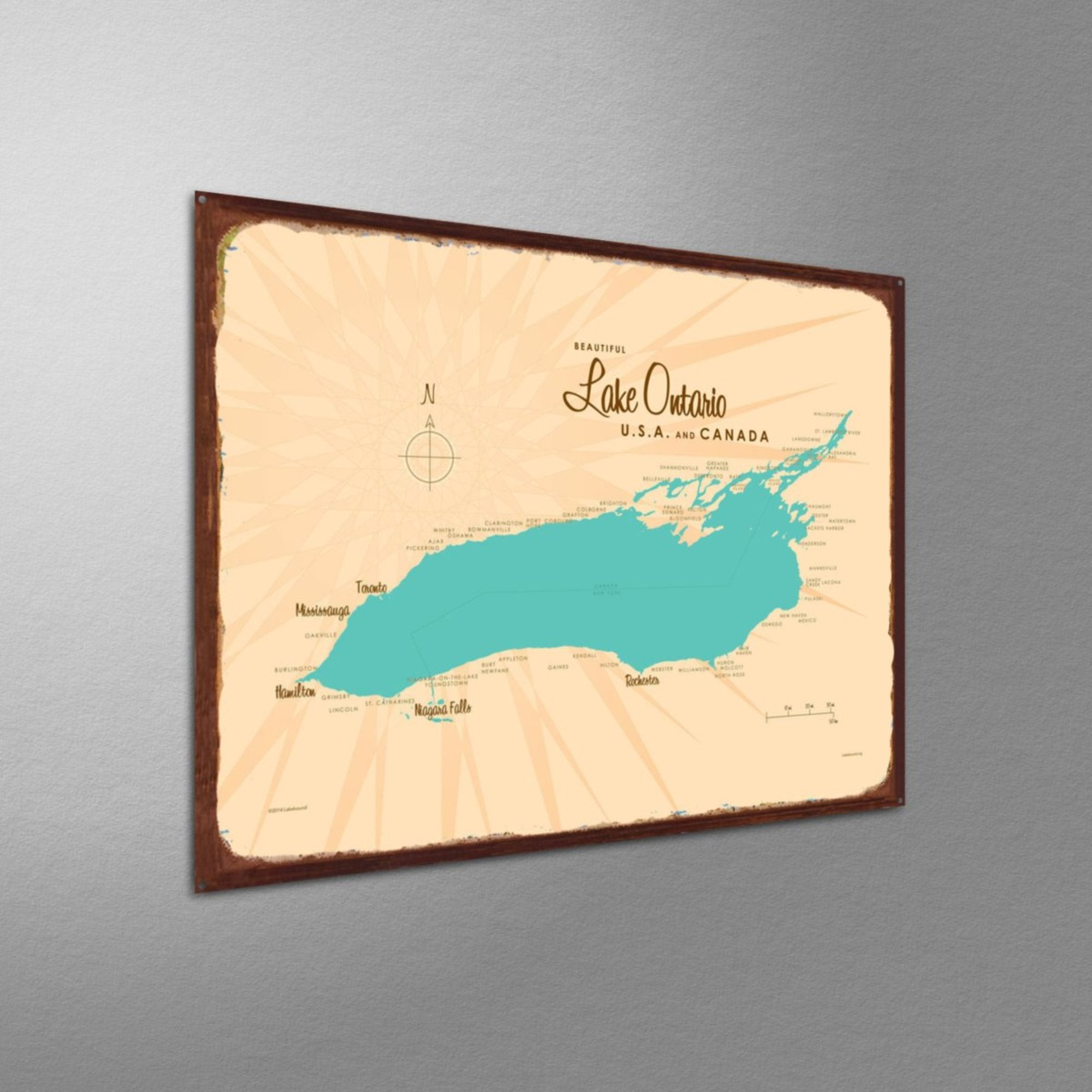 Lake Ontario New York, Rustic Metal Sign Map Art