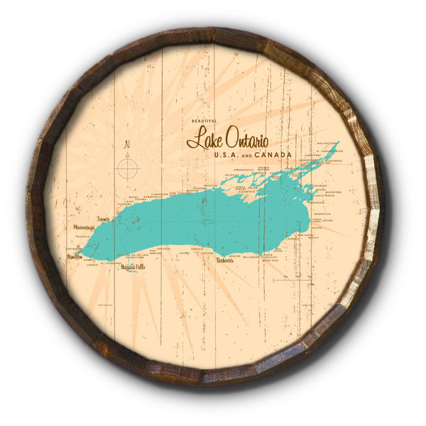 Lake Ontario New York, Rustic Barrel End Map Art