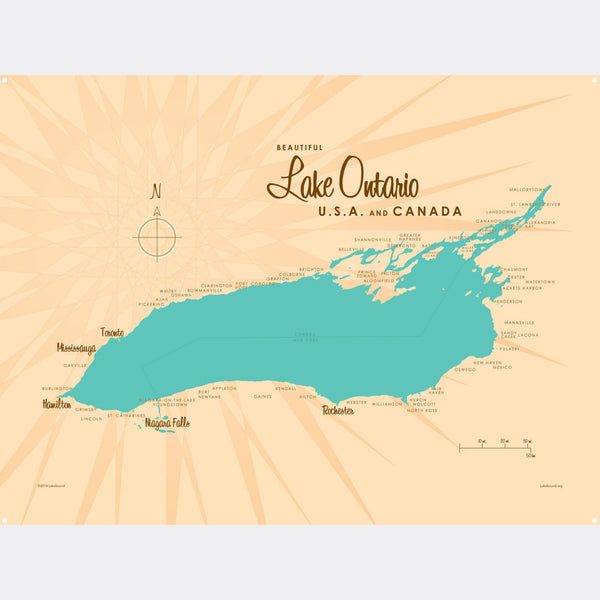 Lake Ontario New York, Metal Sign Map Art