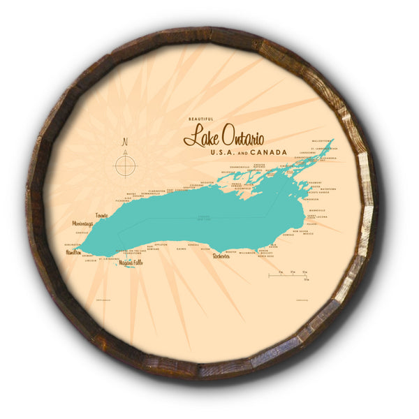 Lake Ontario New York, Barrel End Map Art