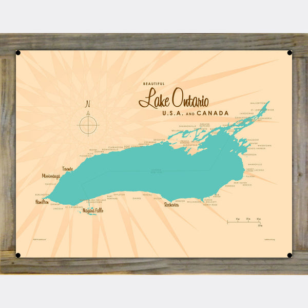 Lake Ontario New York, Wood-Mounted Metal Sign Map Art