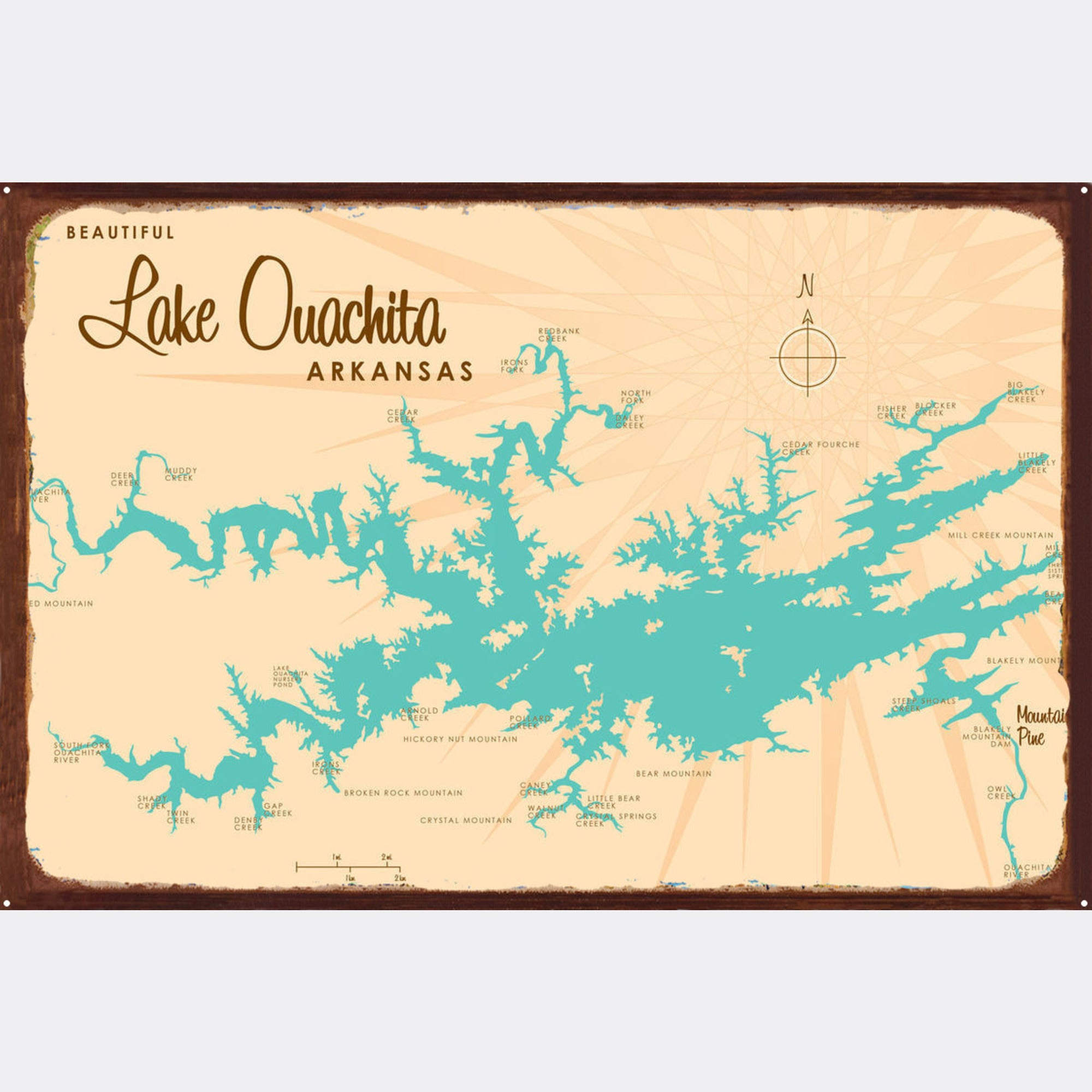 Lake Ouachita Arkansas, Rustic Metal Sign Map Art