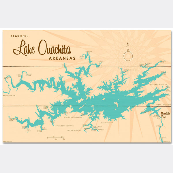 Lake Ouachita Arkansas, Wood Sign Map Art