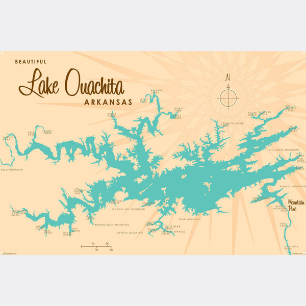 Lake Ouachita Arkansas, Metal Sign Map Art