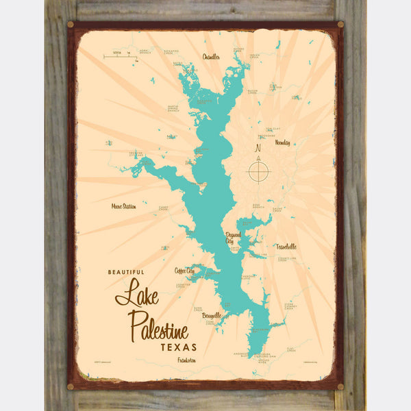 Lake Palestine Texas, Wood-Mounted Rustic Metal Sign Map Art