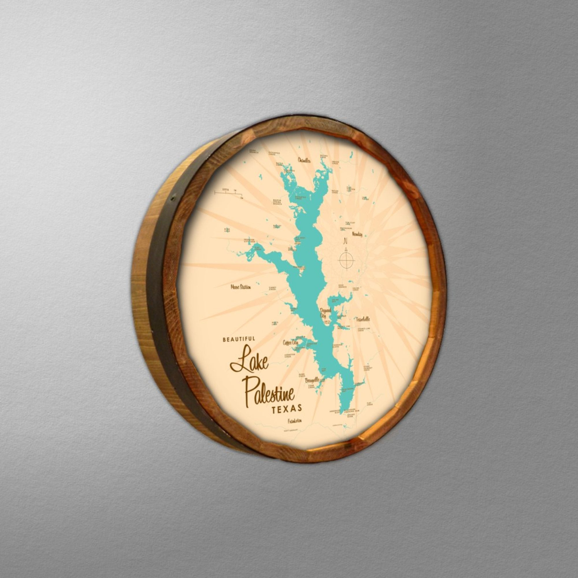 Lake Palestine Texas, Barrel End Map Art