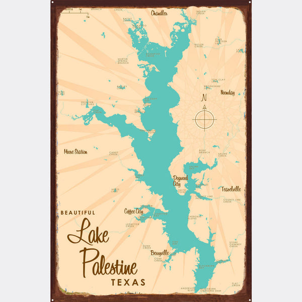Lake Palestine Texas, Rustic Metal Sign Map Art