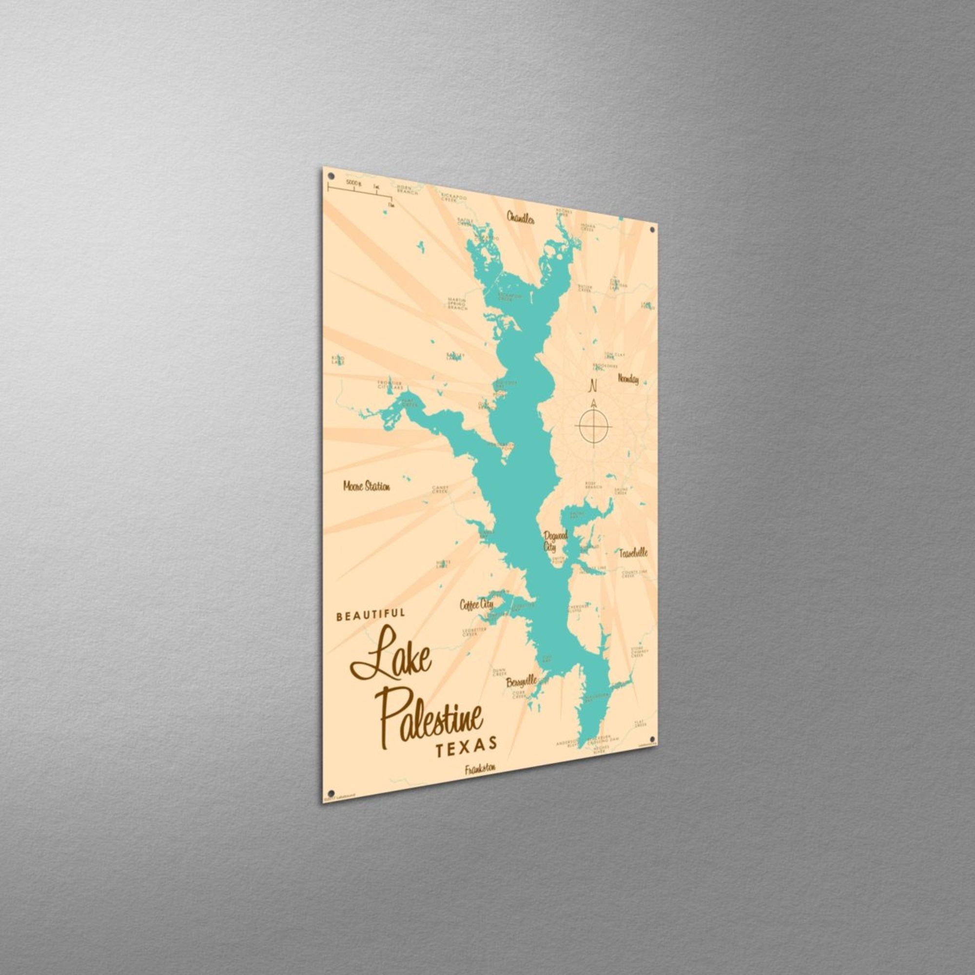 Lake Palestine Texas, Metal Sign Map Art