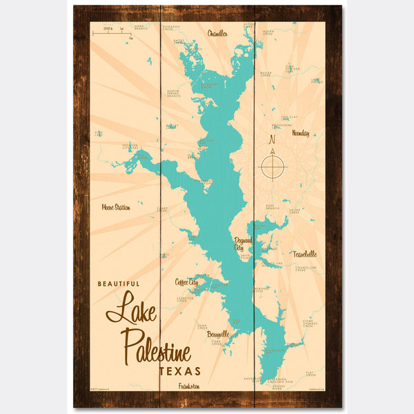 Lake Palestine Texas, Rustic Wood Sign Map Art