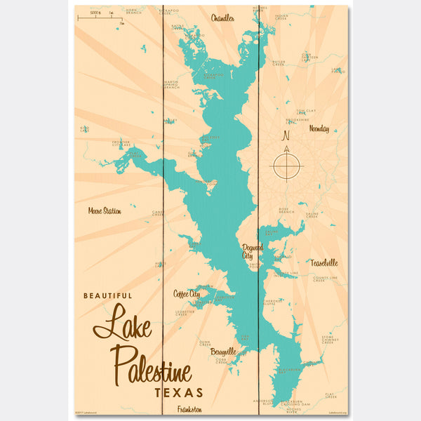 Lake Palestine Texas, Wood Sign Map Art