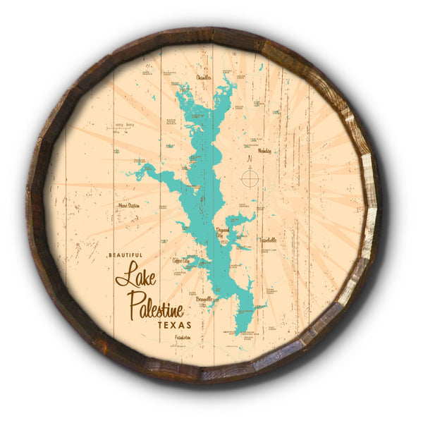 Lake Palestine Texas, Rustic Barrel End Map Art