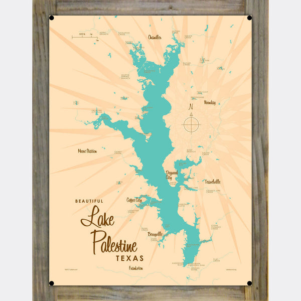 Lake Palestine Texas, Wood-Mounted Metal Sign Map Art