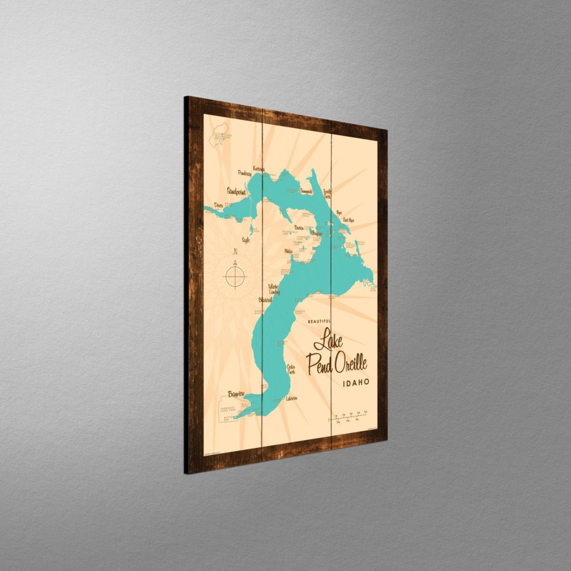 Lake Pend Oreille Idaho, Rustic Wood Sign Map Art