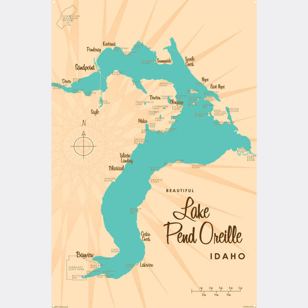 Lake Pend Oreille Idaho, Metal Sign Map Art