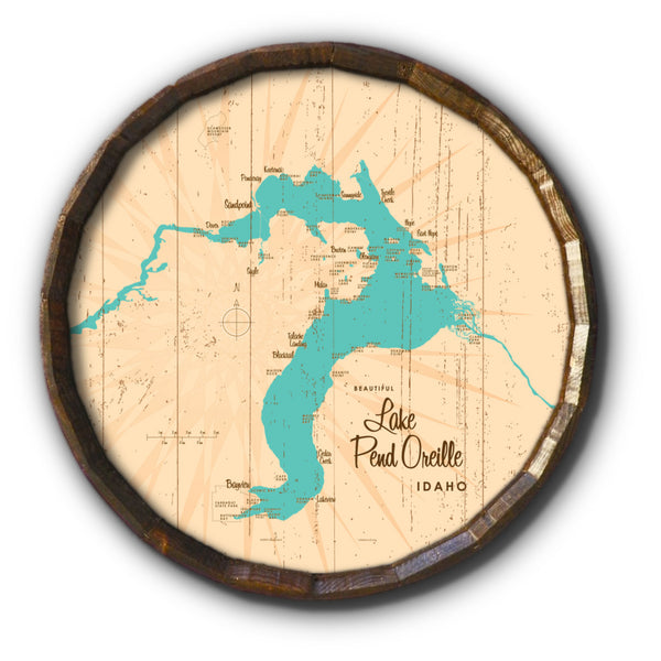 Lake Pend Oreille Idaho, Rustic Barrel End Map Art