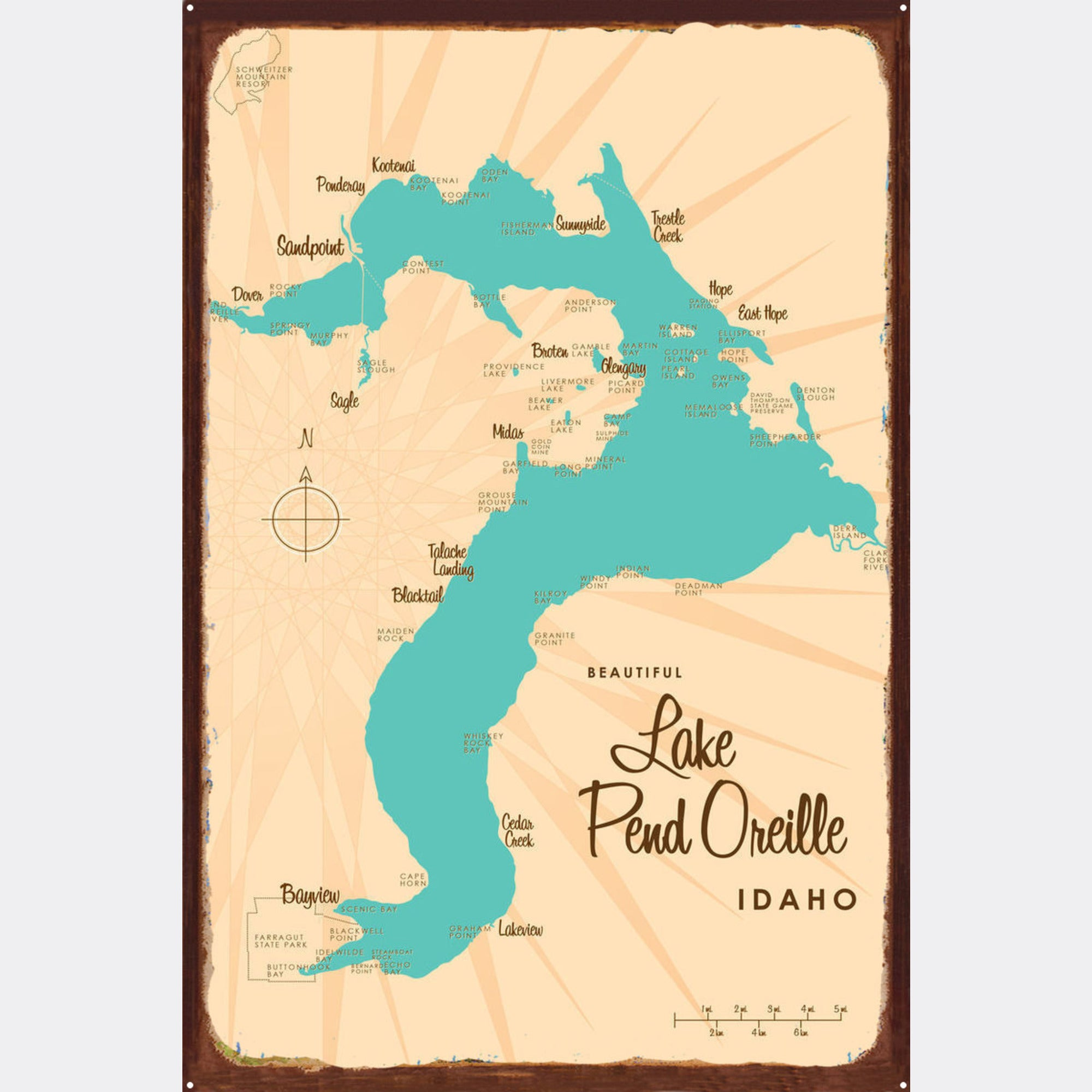 Lake Pend Oreille Idaho, Rustic Metal Sign Map Art