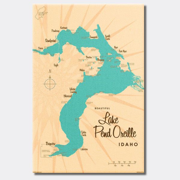 Lake Pend Oreille Idaho, Canvas Print