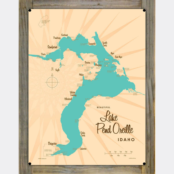 Lake Pend Oreille Idaho, Wood-Mounted Metal Sign Map Art