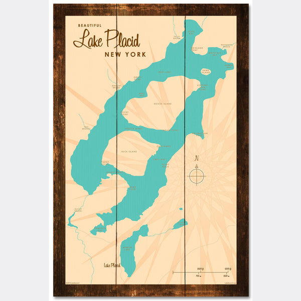 Lake Placid New York, Rustic Wood Sign Map Art