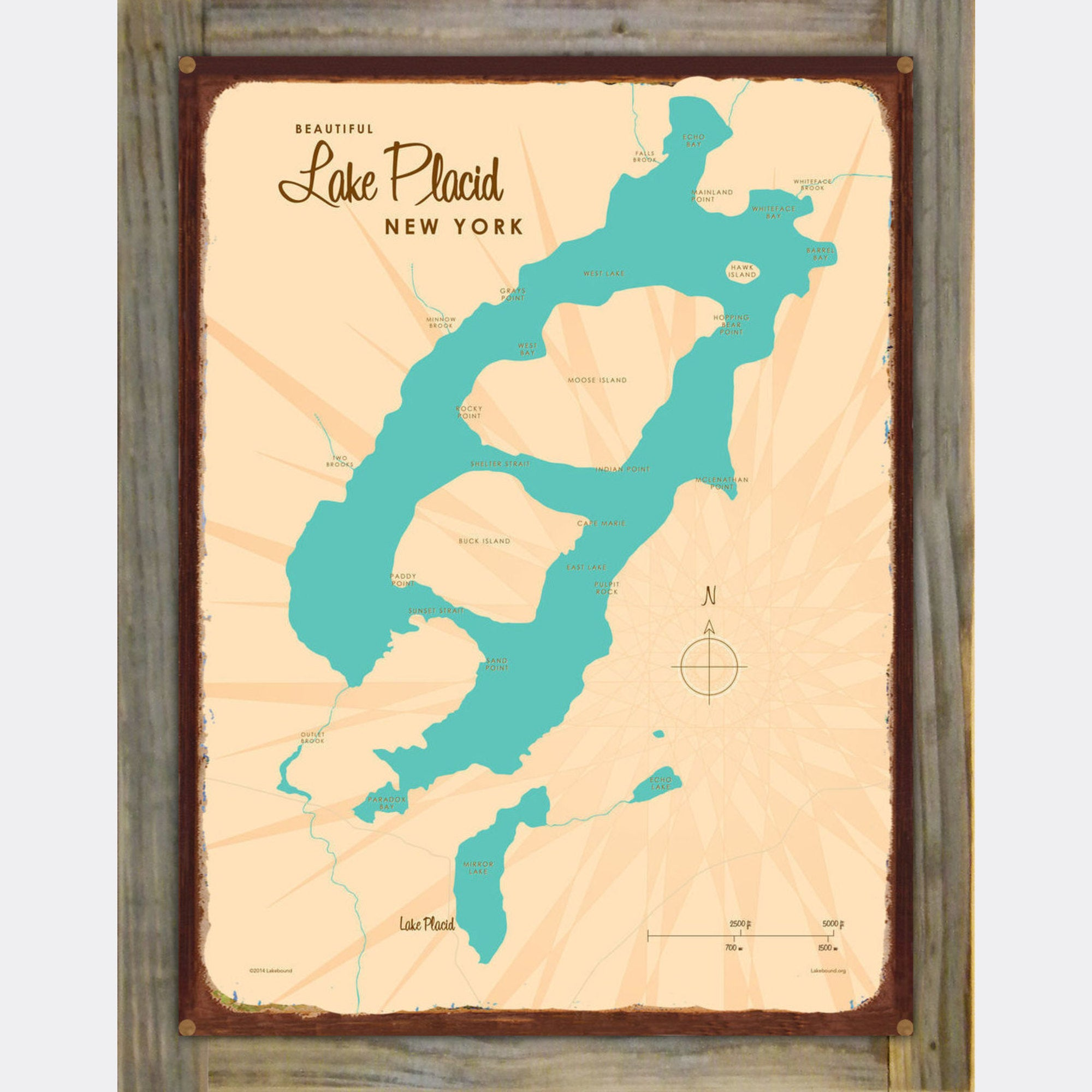 Lake Placid New York, Wood-Mounted Rustic Metal Sign Map Art