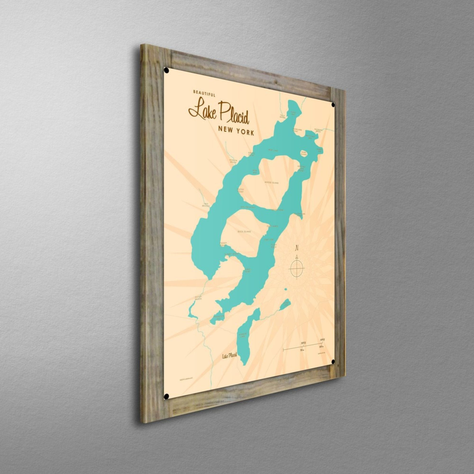 Lake Placid New York, Wood-Mounted Metal Sign Map Art