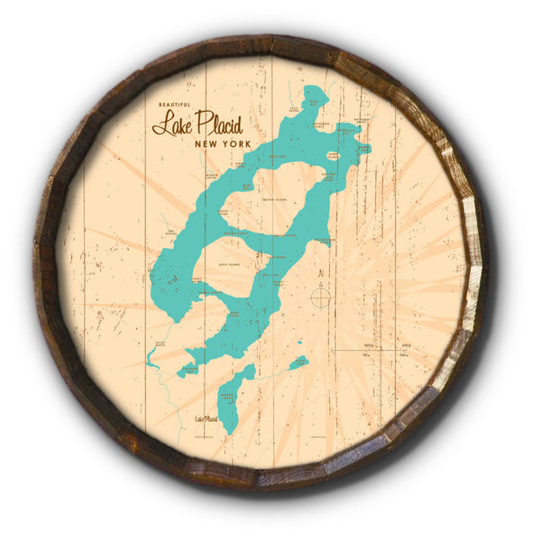 Lake Placid New York, Rustic Barrel End Map Art