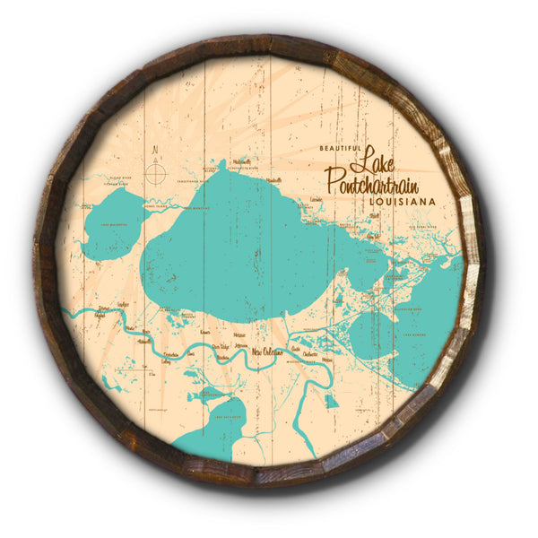 Lake Pontchartrain Louisiana, Rustic Barrel End Map Art