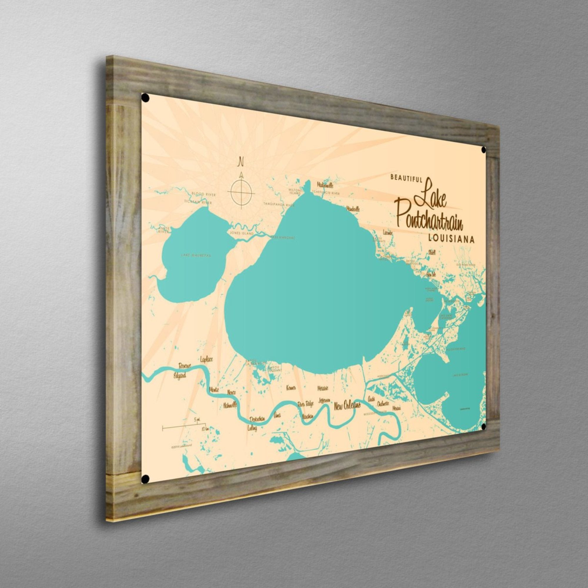Lake Pontchartrain Louisiana, Wood-Mounted Metal Sign Map Art