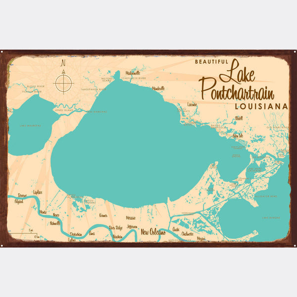 Lake Pontchartrain Louisiana, Rustic Metal Sign Map Art
