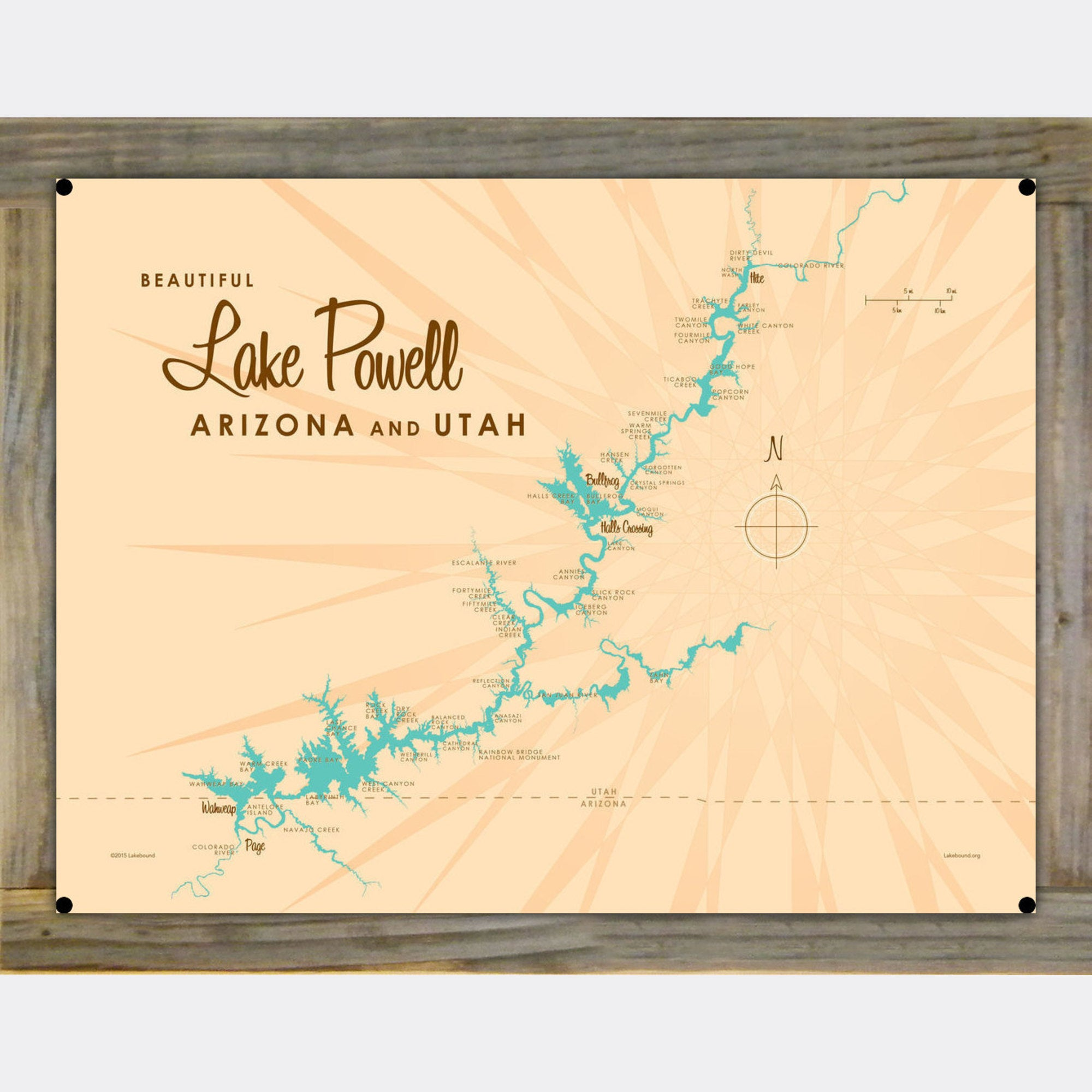 Lake Powell UT Arizona, Wood-Mounted Metal Sign Map Art