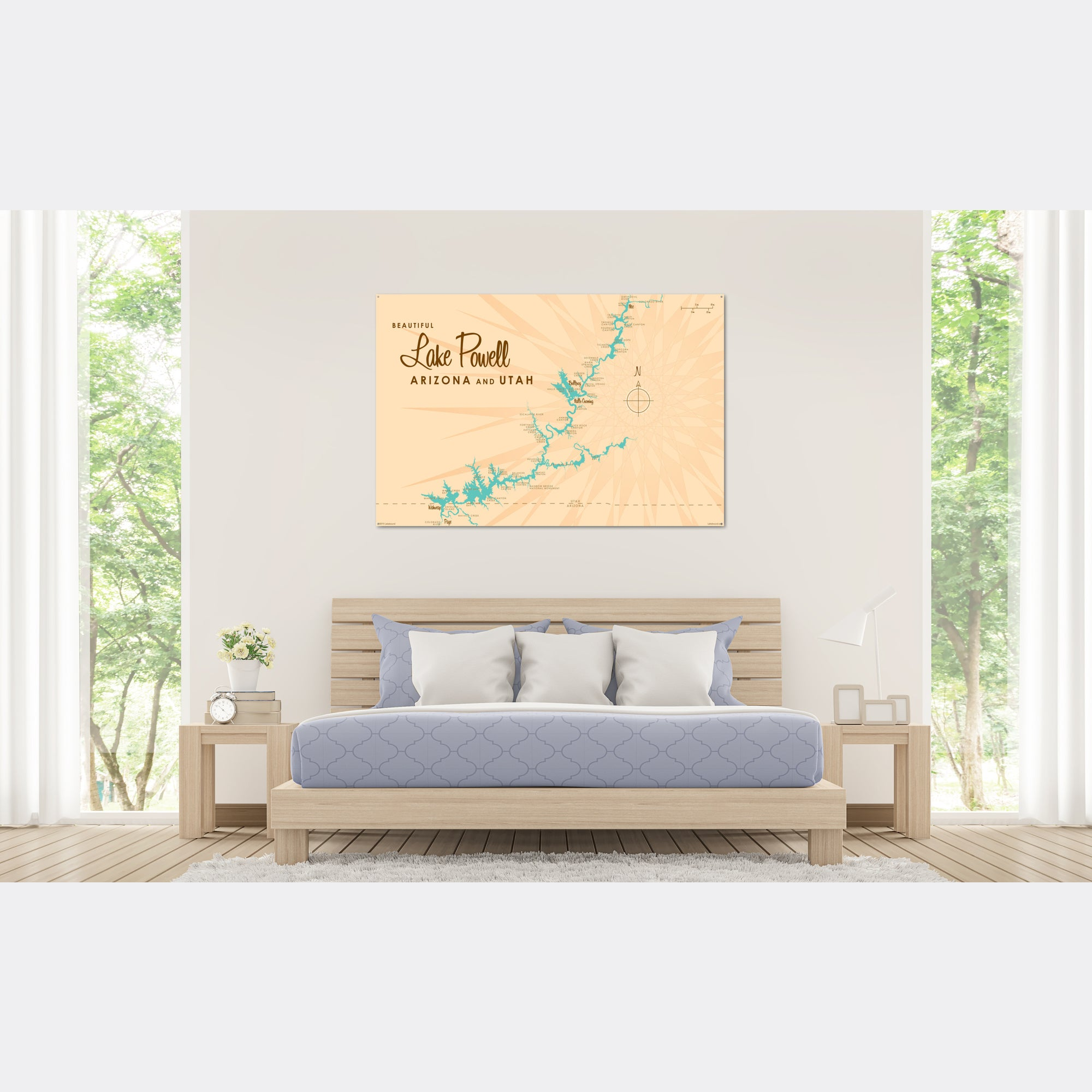 Lake Powell UT Arizona, Metal Sign Map Art