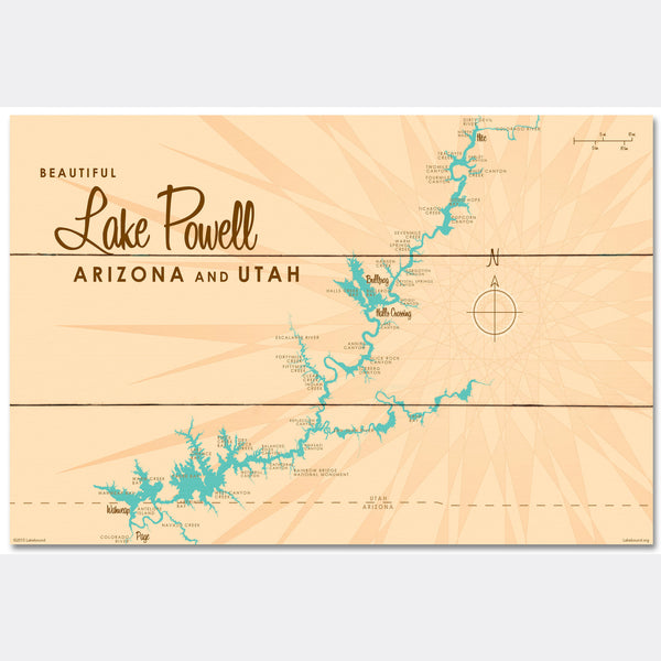 Lake Powell UT Arizona, Wood Sign Map Art