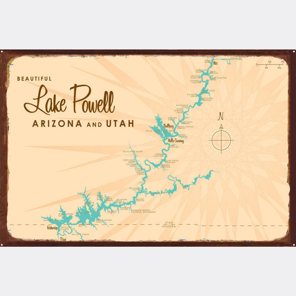 Lake Powell UT Arizona, Rustic Metal Sign Map Art