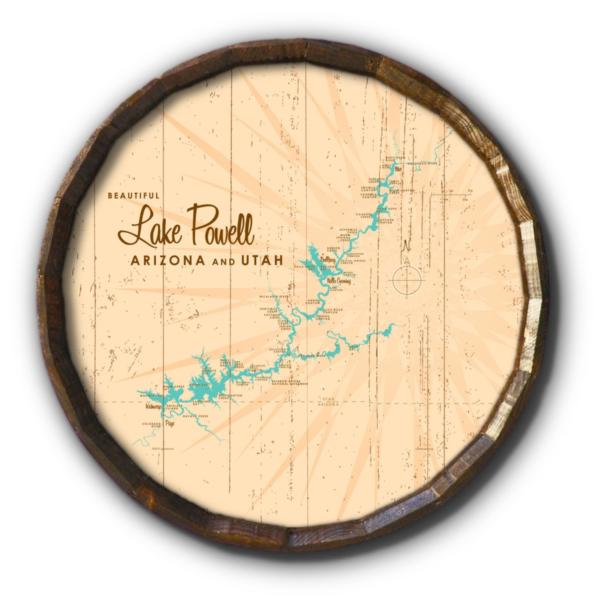 Lake Powell UT Arizona, Rustic Barrel End Map Art