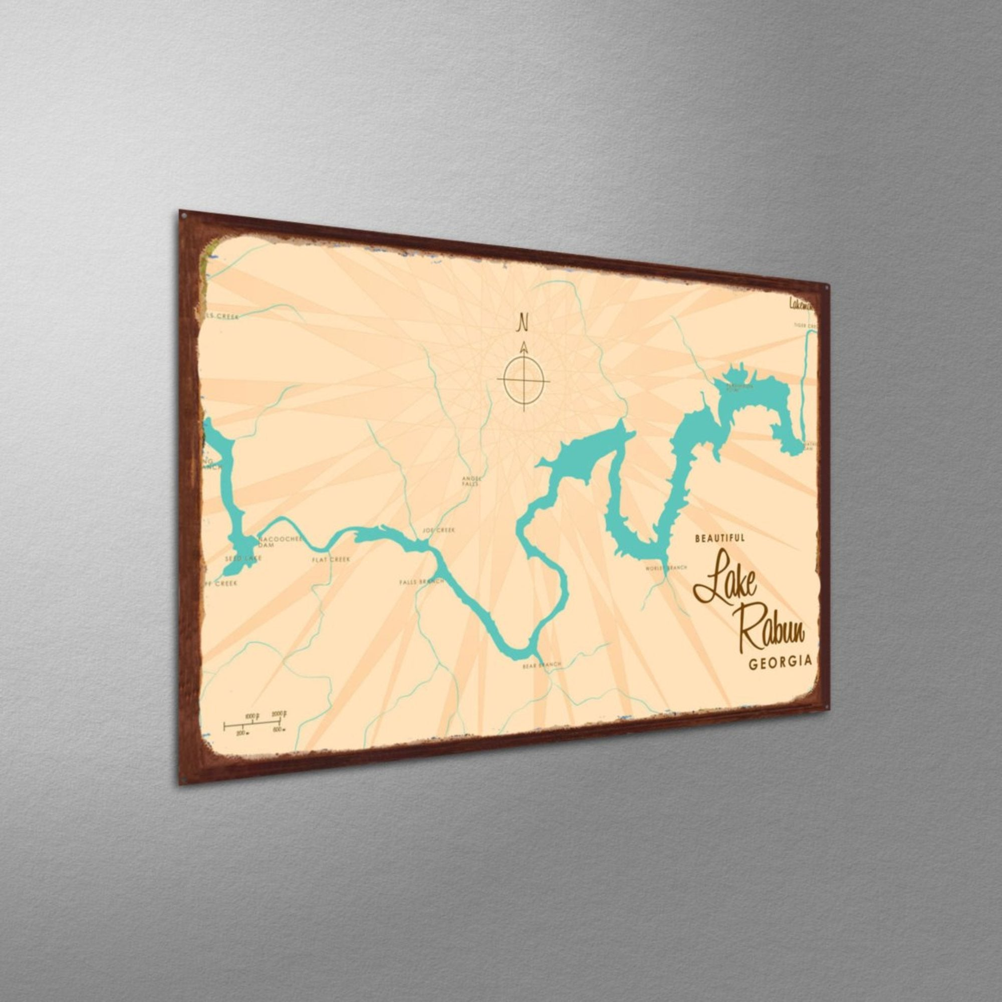 Lake Rabun Georgia, Rustic Metal Sign Map Art
