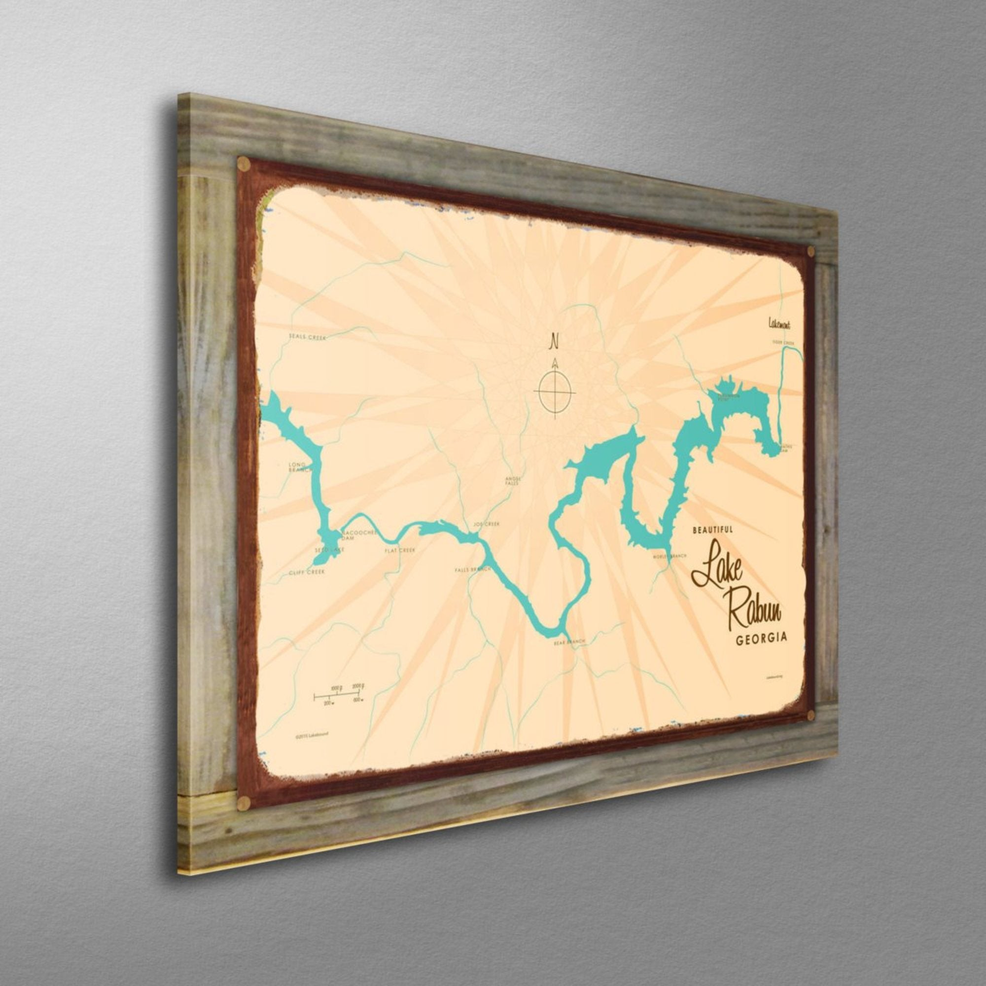 Lake Rabun Georgia, Wood-Mounted Rustic Metal Sign Map Art