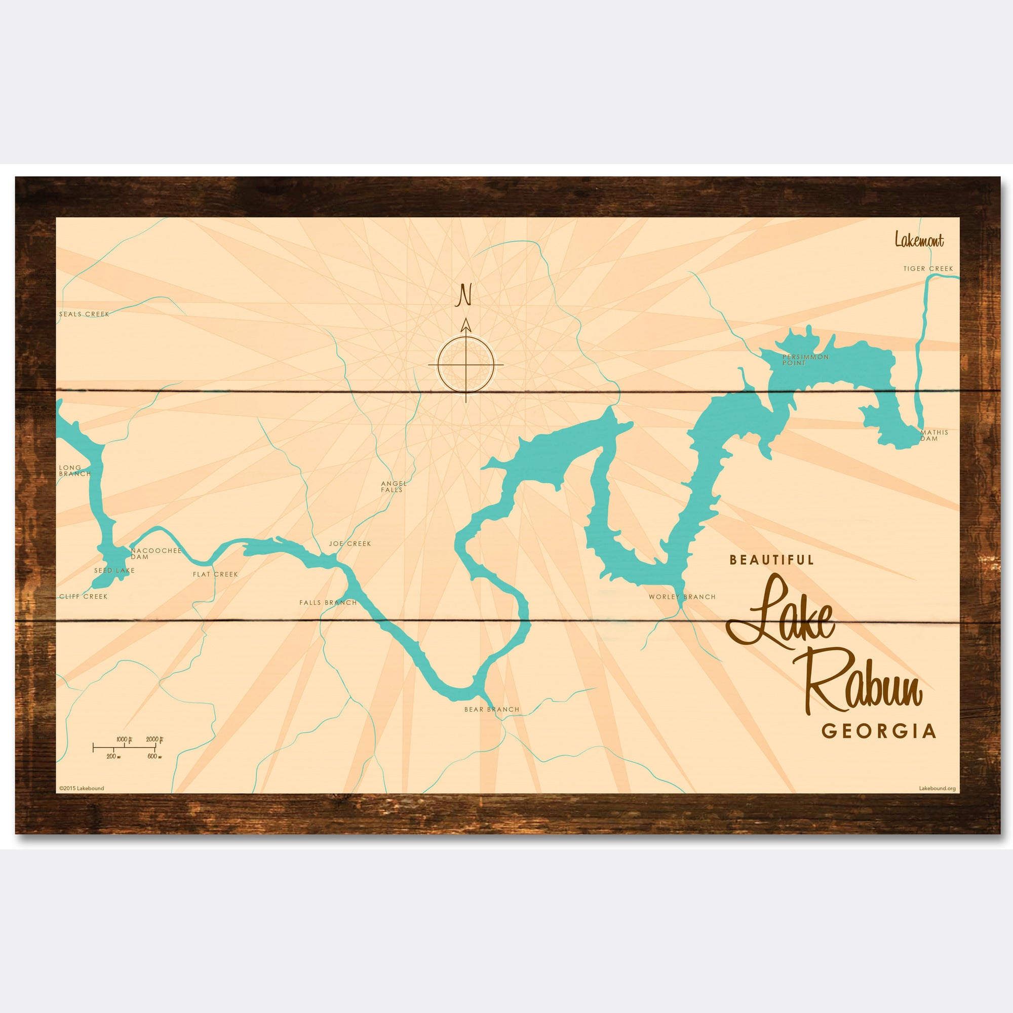 Lake Rabun Georgia, Rustic Wood Sign Map Art