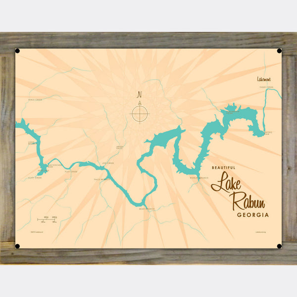 Lake Rabun Georgia, Wood-Mounted Metal Sign Map Art