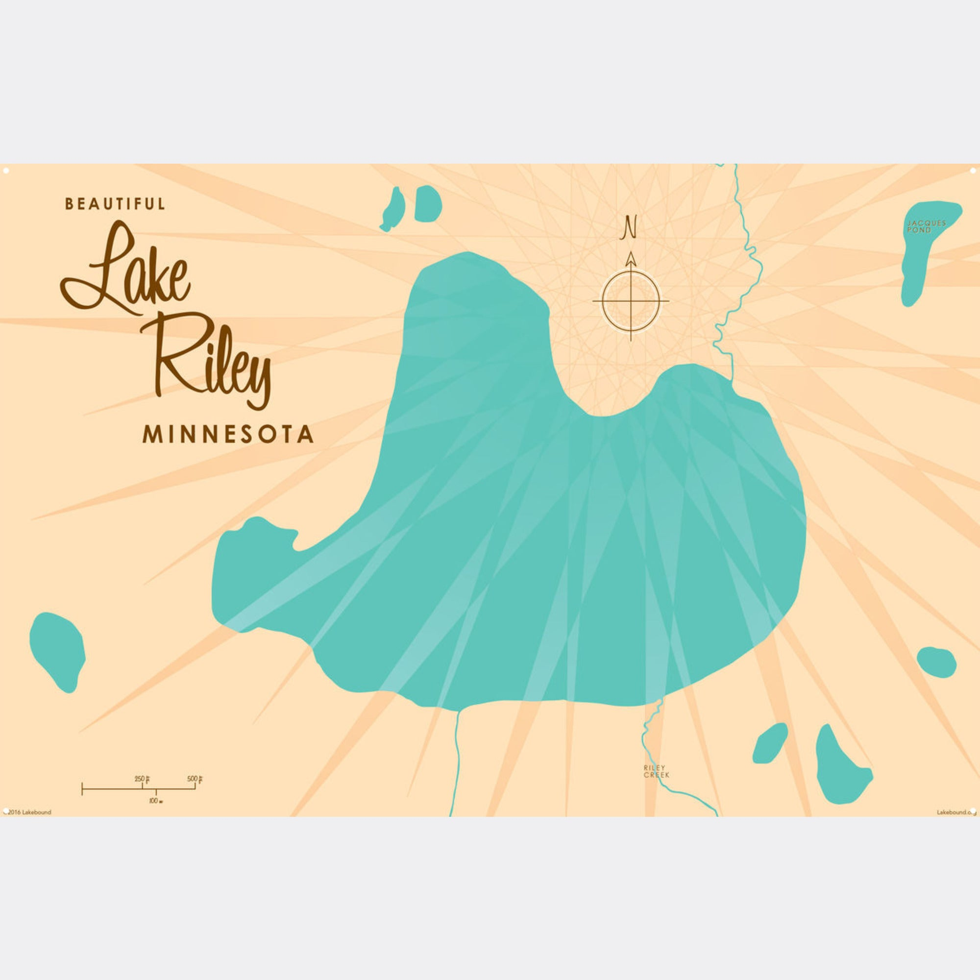 Lake Riley Minnesota, Metal Sign Map Art