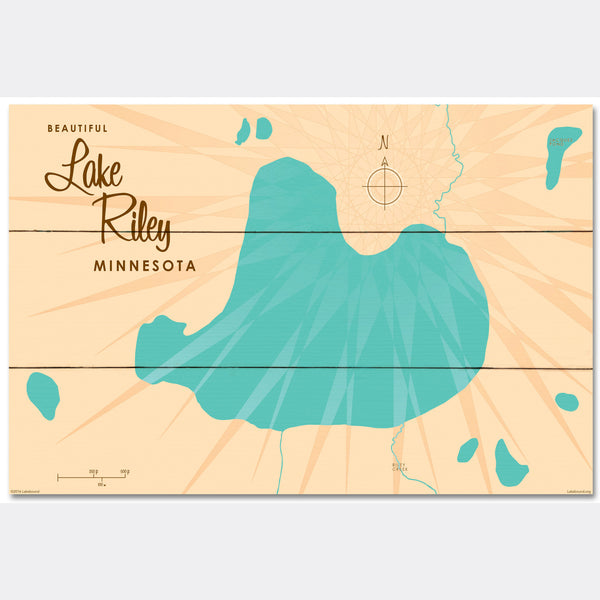 Lake Riley Minnesota, Wood Sign Map Art