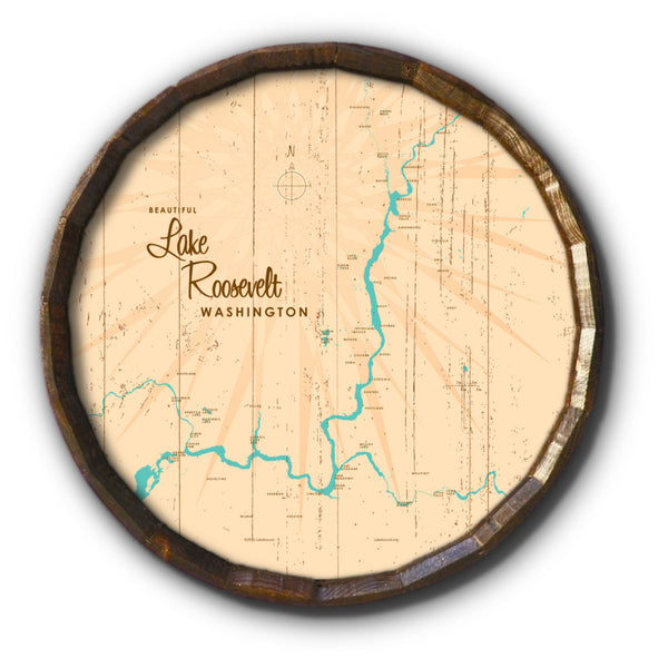 Lake Roosevelt Washington, Rustic Barrel End Map Art