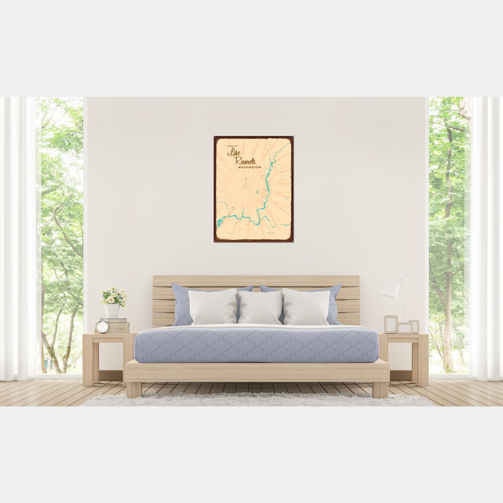 Lake Roosevelt Washington, Rustic Metal Sign Map Art