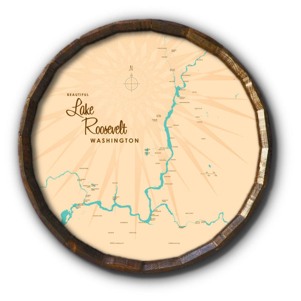 Lake Roosevelt Washington, Barrel End Map Art
