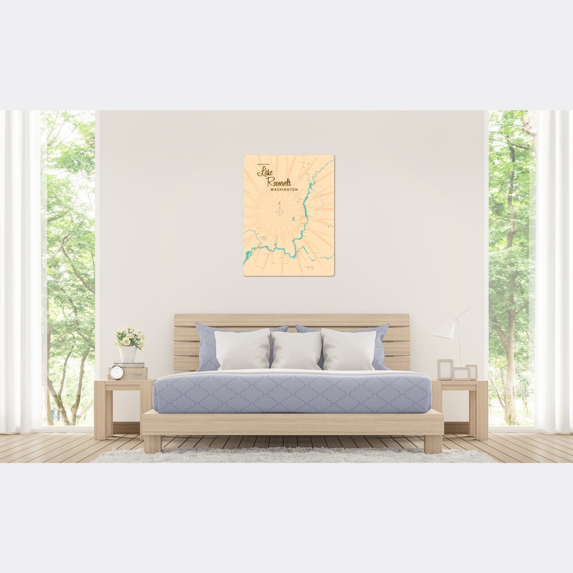 Lake Roosevelt Washington, Metal Sign Map Art