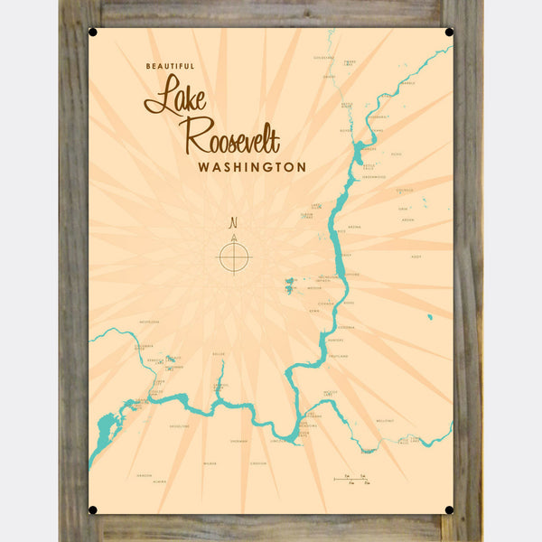 Lake Roosevelt Washington, Wood-Mounted Metal Sign Map Art