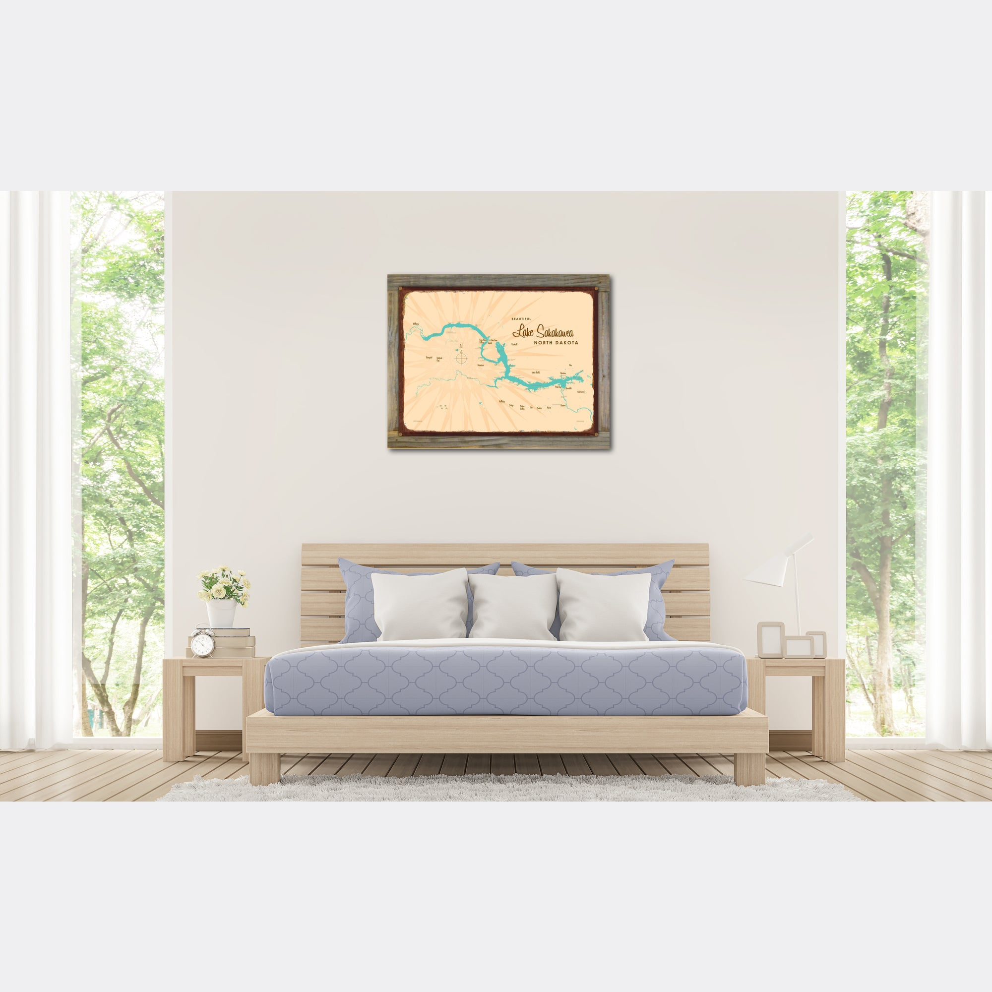 Lake Sakakawea North Dakota, Wood-Mounted Rustic Metal Sign Map Art