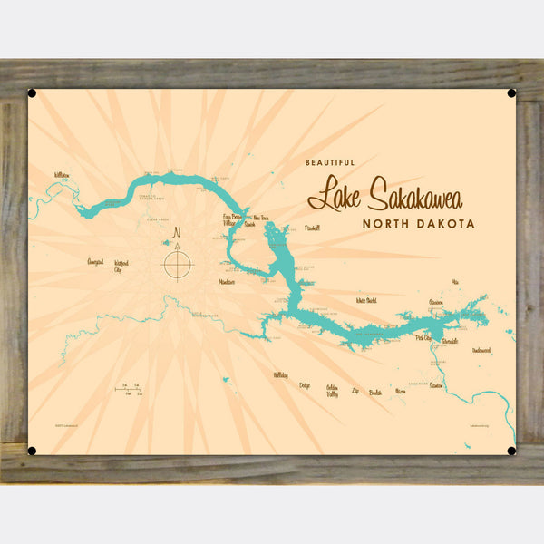 Lake Sakakawea North Dakota, Wood-Mounted Metal Sign Map Art