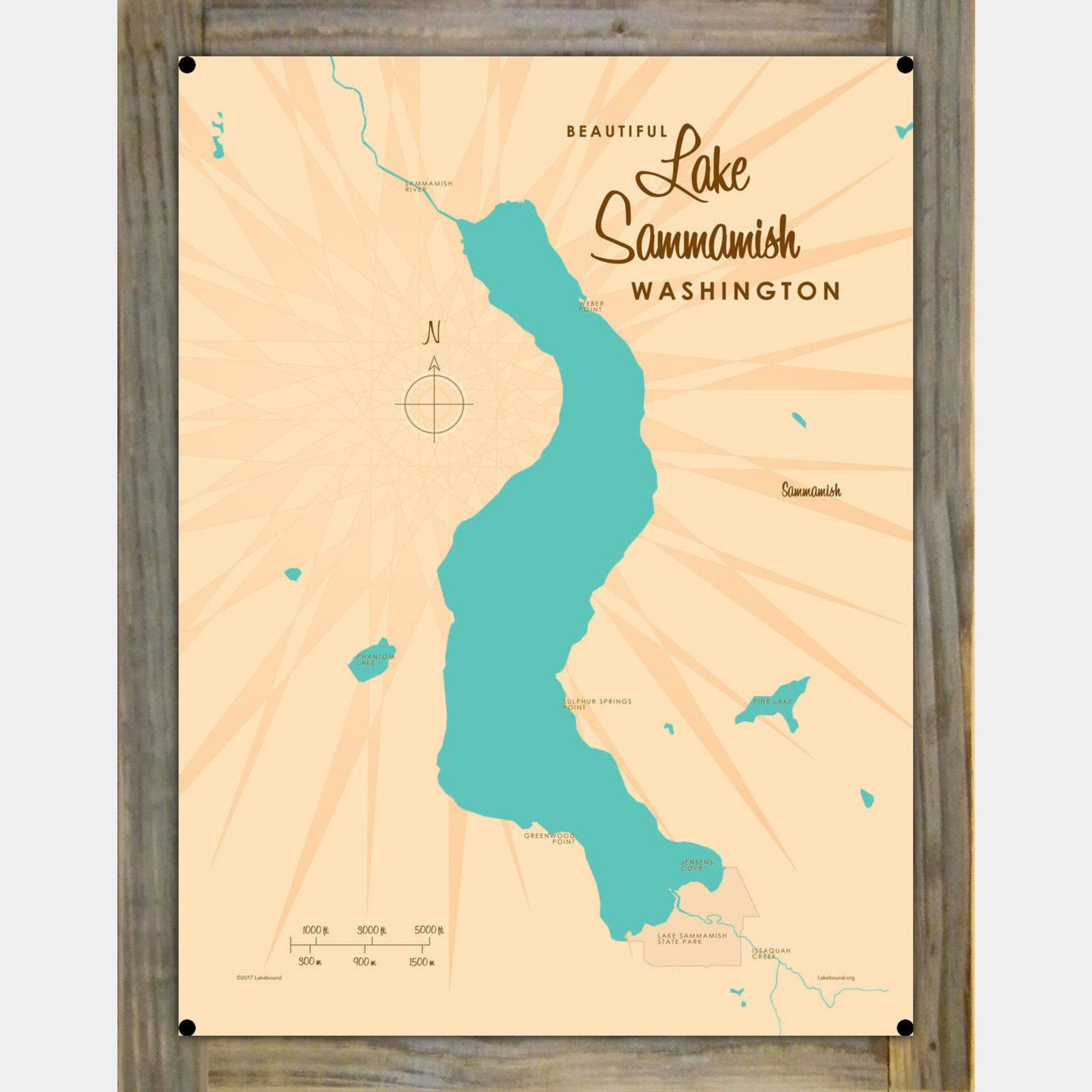 Lake Sammamish Washington, Wood-Mounted Metal Sign Map Art
